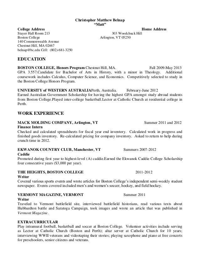 Matthew Belnap Resume