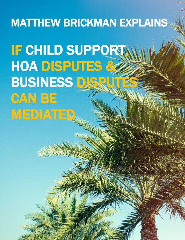 WWW.iCHATMEDIATION.COM MATTHEW BRICKMAN EXPLAINS IF CHILD SUPPORT, HOA DISPUTES & BUSINESS DISPUTES CAN BE MEDIATED