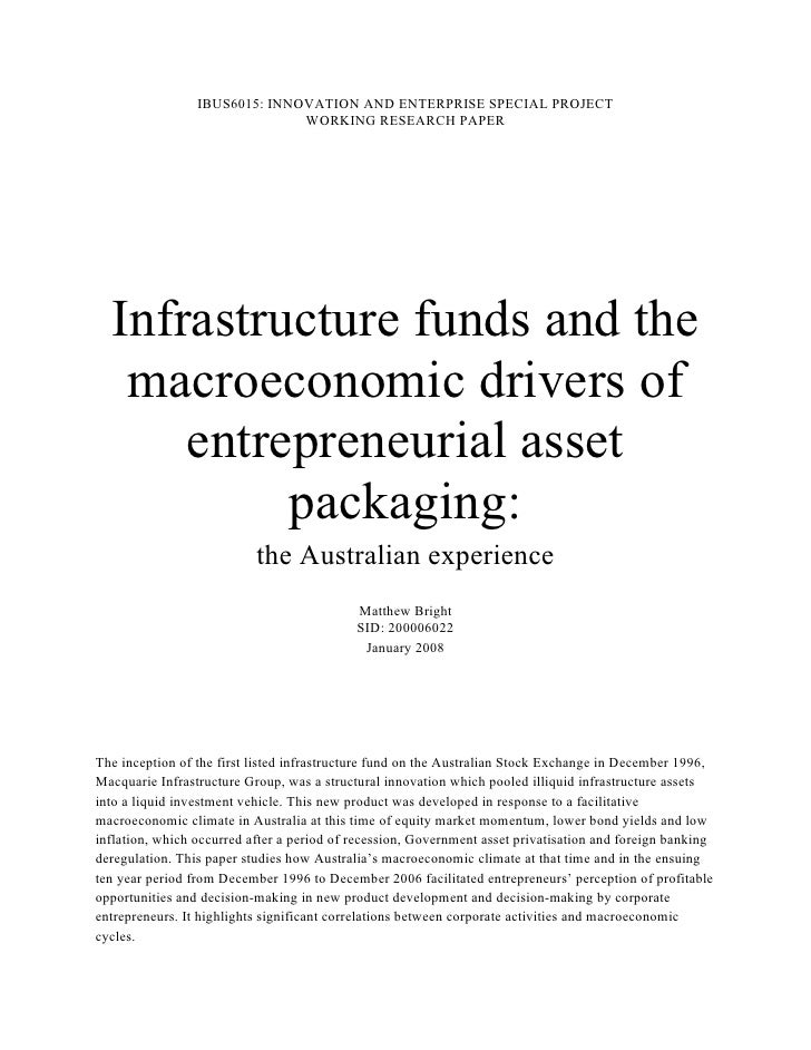 IBUS6015: INNOVATION AND ENTERPRISE SPECIAL PROJECT                               WORKING RESEARCH PAPER  Infrastructure f...