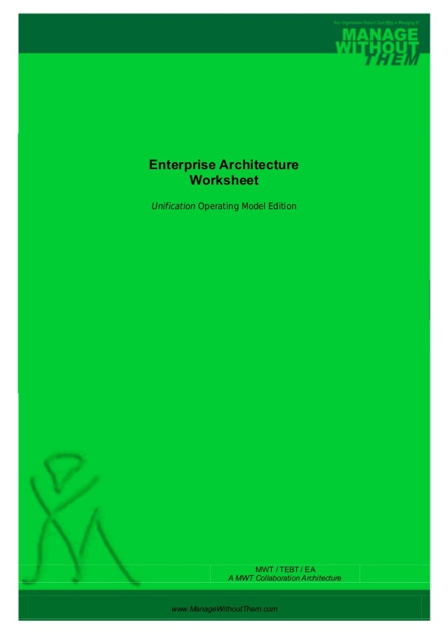 Enterprise Architecture Worksheet Unification Operating Model Edition www.ManageWithoutThem.com MWT / TEBT / EA A MWT Coll...