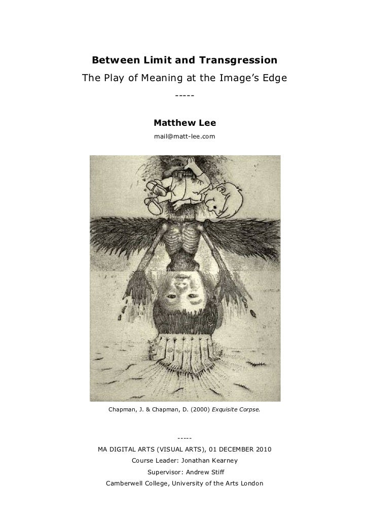 Between Limit and TransgressionThe Play of Meaning at the Image's Edge                          -----                   Ma...