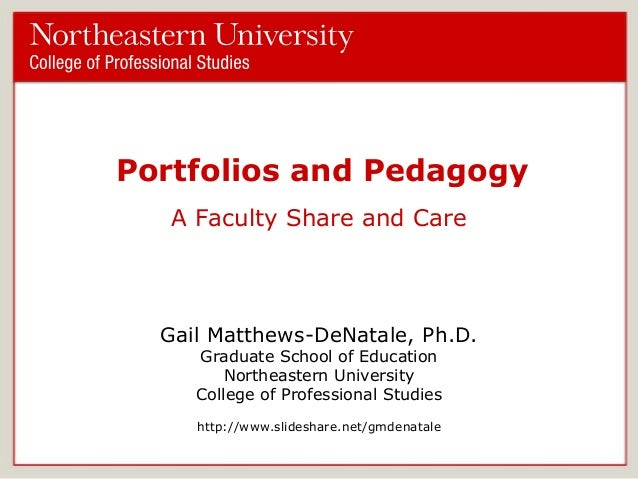 Portfolios and Pedagogy A Faculty Share and Care  Gail Matthews-DeNatale, Ph.D. Graduate School of Education Northeastern ...