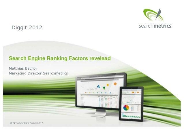 Diggit 2012Search Engine Ranking Factors reveleadMatthias BachorMarketing Director Searchmetrics® Searchmetrics GmbH 2012