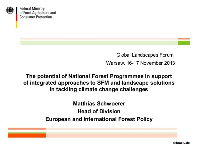 Global Landscapes Forum Warsaw, 16-17 November 2013  The potential of National Forest Programmes in support of integrated ...