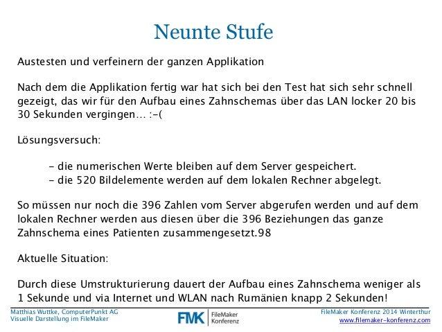 Matthias Wuttke, ComputerPunkt AG  Visuelle Darstellung im FileMaker  Neunte Stufe  Austesten und verfeinern der ganzen Ap...