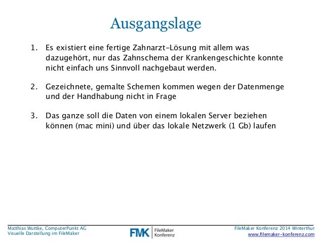 Matthias Wuttke, ComputerPunkt AG  Visuelle Darstellung im FileMaker  Ausgangslage  1. Es existiert eine fertige Zahnarzt-...