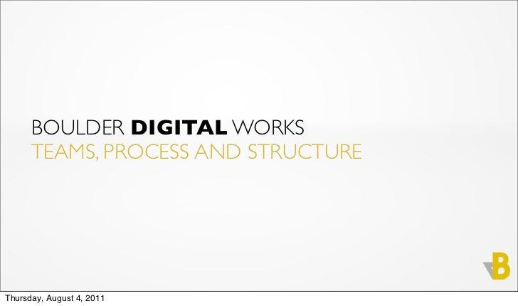 BOULDER DIGITAL WORKS      TEAMS, PROCESS AND STRUCTUREThursday, August 4, 2011