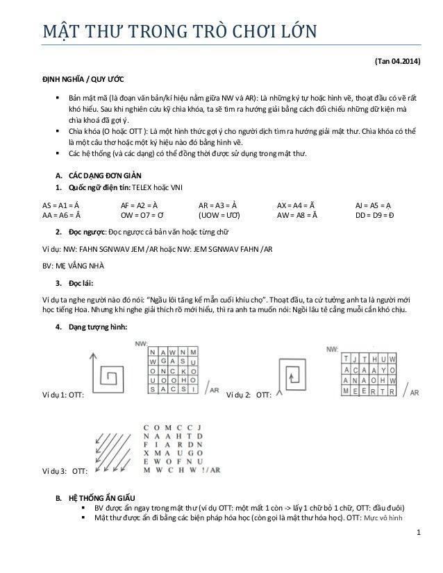 1 MẬT THƯ TRONG TRO CHƠI LƠN (Tan 04.2014) ĐỊNH NGHĨA / QUY ƯỚC  Bản mật mã (là đoạn văn bản/kí hiệu nằm giữa NW và AR): ...