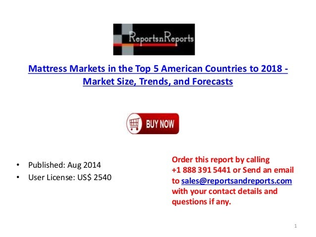 Mattress Markets in the Top 5 American Countries to 2018 - Market Size, Trends, and Forecasts • Published: Aug 2014 • User...