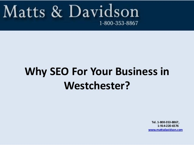 Why SEO For Your Business in Westchester? Tel. 1-800-353-8867, 1-914-220-6576 www.mattsdavidson.com