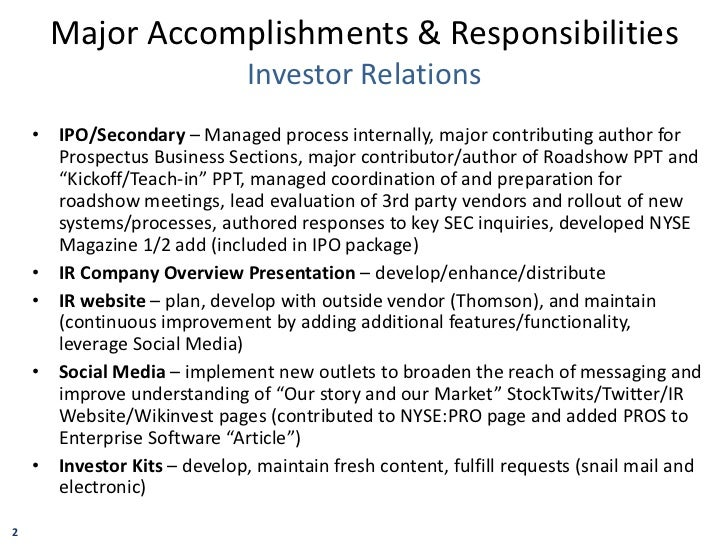Matt Balfour Major Accomplishments Responsibilities and IR Program Ex…