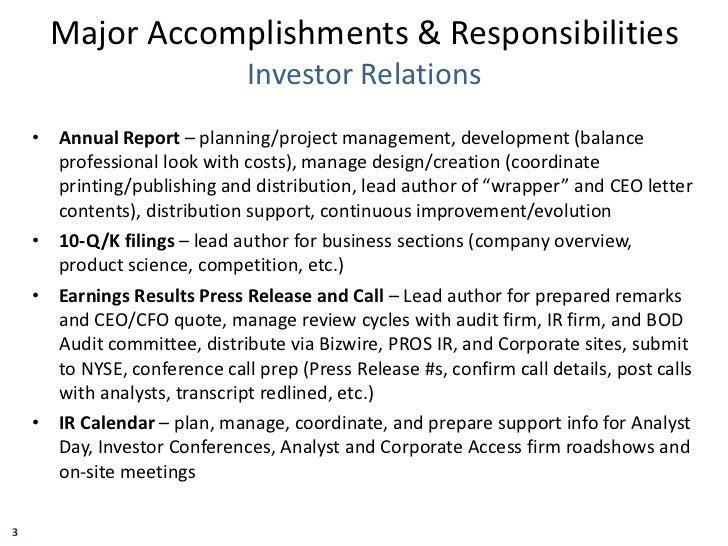 Resume List Accomplishments