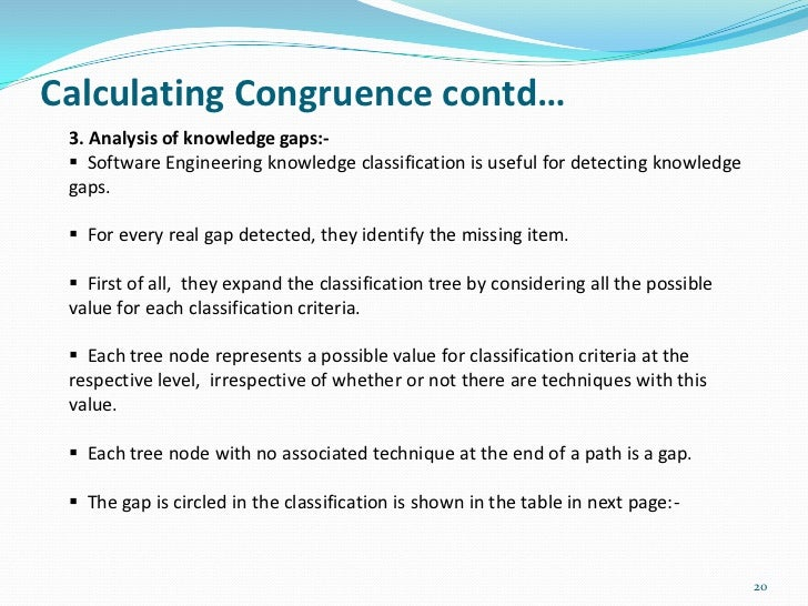 Calculating Congruence contd… 3. Analysis of knowledge gaps:-  Software Engineering knowledge classification is useful fo...