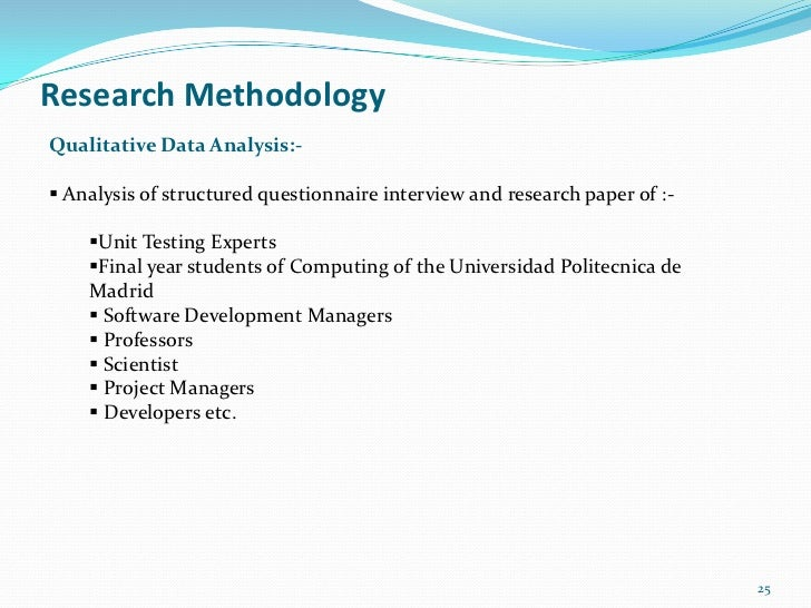 Research MethodologyQualitative Data Analysis:- Analysis of structured questionnaire interview and research paper of :-  ...