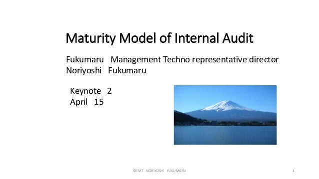 Maturity Model of Internal Audit Fukumaru Management Techno representative director Noriyoshi Fukumaru ©FMT NORIYOSHI FUKU...