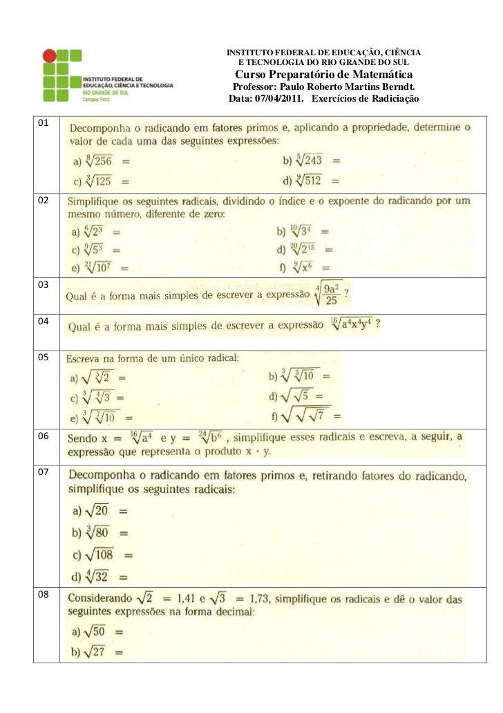 INSTITUTO FEDERAL DE EDUCAÇÃO, CIÊNCIA        E TECNOLOGIA DO RIO GRANDE DO SUL      Curso Preparatório de Matemática     ...