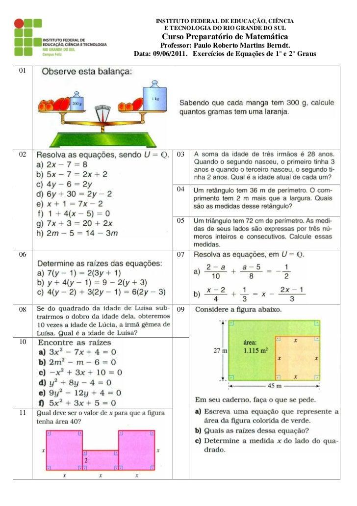 INSTITUTO FEDERAL DE EDUCAÇÃO, CIÊNCIA              E TECNOLOGIA DO RIO GRANDE DO SUL             Curso Preparatório de Ma...