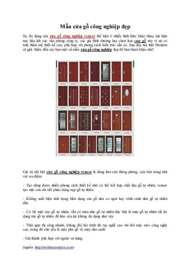 Mẫu cửa gỗ công nghiệp đẹp Sự đa dạng của cửa gỗ công nghiệp veneer thể hiện ở nhiều hình thức khác nhau, mà hiện nay hầu ...