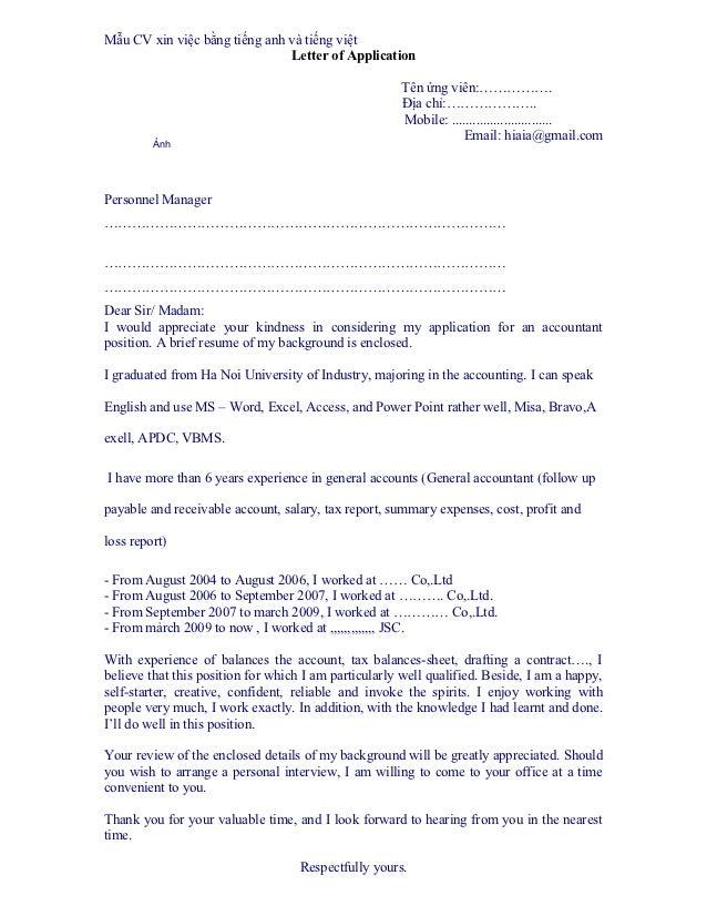 Mẫu CV xin việc bằng tiếng anh và tiếng việt                               Letter of Application                          ...