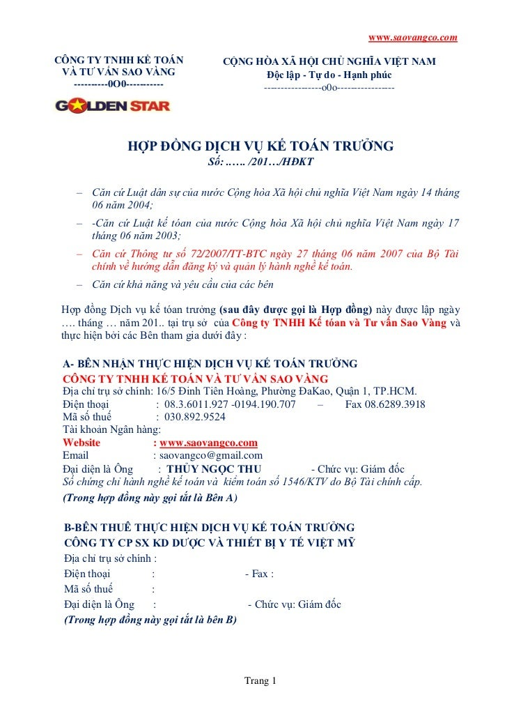 www.saovangco.comCÔNG TY TNHH KẾ TOÁN              CỘNG HÒA XÃ HỘI CHỦ NGHĨA VIỆT NAM VÀ TƯ VẤN SAO VÀNG                  ...