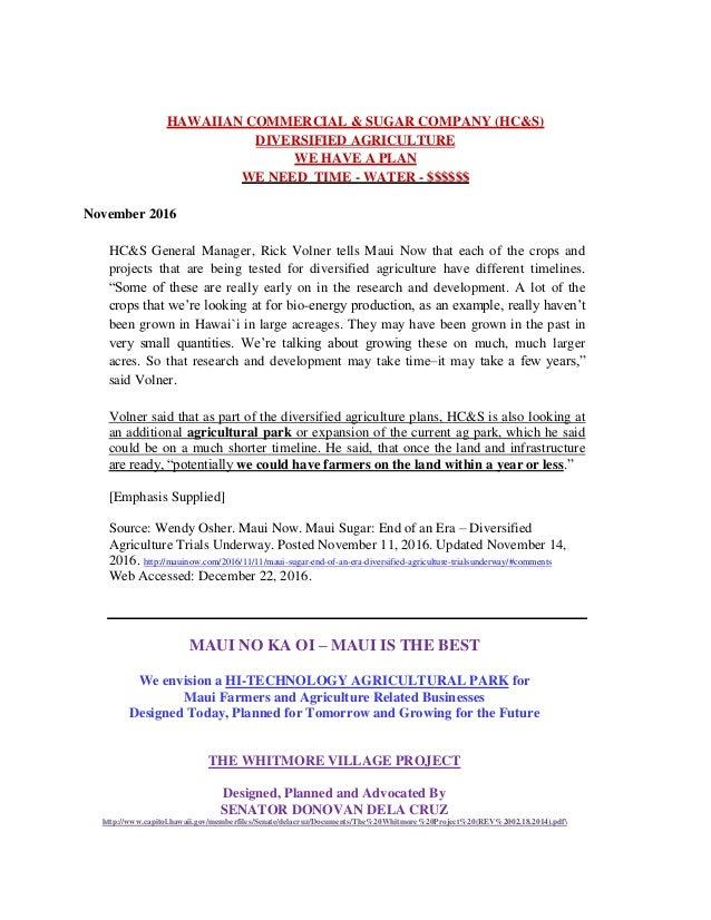 da73d030bda2 MAUI - HAWAIIAN COMMERCIAL SUGAR CO - DIVERSIFIED AGRICULTURE - MAUI NO KA  OI
