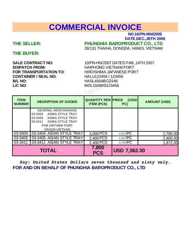mau invoice packing list 3694