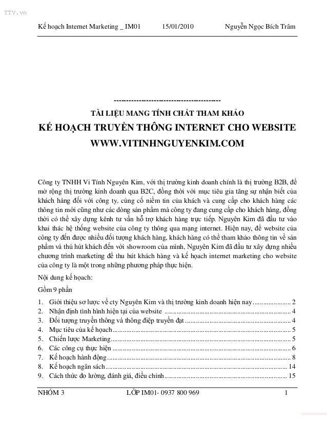TTV.vn         Kế hoạch Internet Marketing _ IM01                             15/01/2010                      Nguyễn Ngọc ...
