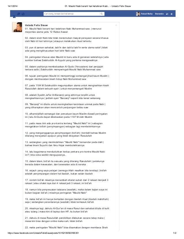 14/1/2014  01. Maulid Nabi berarti hari kelahiran Nabi... - Ustadz Felix Siauw Cari orang, tempat dan hal lainnya  Faisal ...