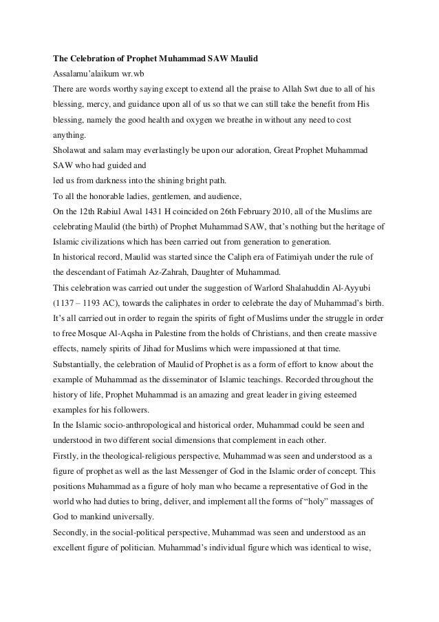 Pidato Peringatan Maulid Rasulallah Saw Inggris Indonesia