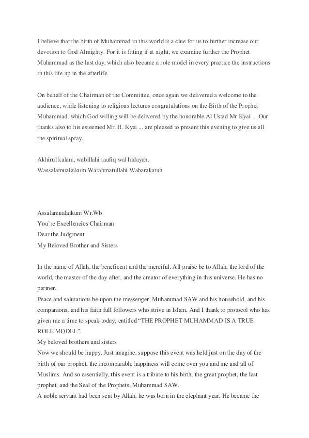 Pidato Peringatan Maulid Rasulallah SAW (Inggris - Indonesia)