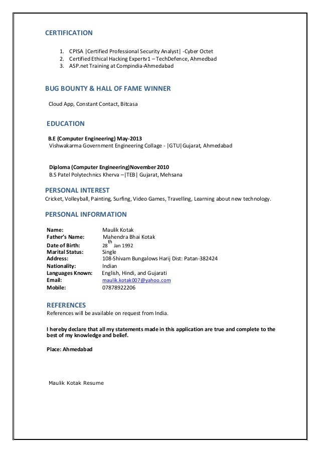 maulik kotak resume