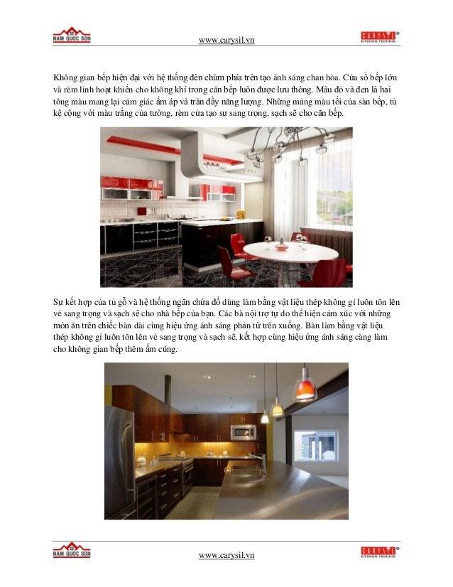 www.carysil.vn www.carysil.vn Không gian bếp hiện đại với hệ thống đèn chùm phía trên tạo ánh sáng chan hòa. Cửa sổ bếp lớ...
