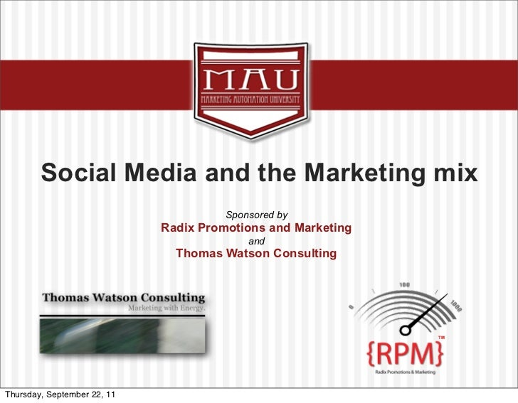 Click to edit Master title style               Social Media and the Marketing mix                                         ...