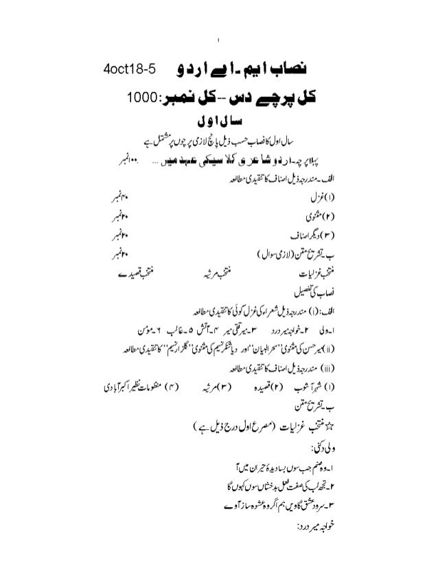 Course Outline for MA Urdu Punjab University