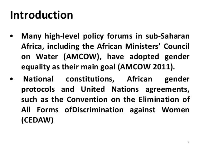 Introduction 5 • Many high-level policy forums in sub-Saharan Africa, including the African Ministers' Council on Water (A...