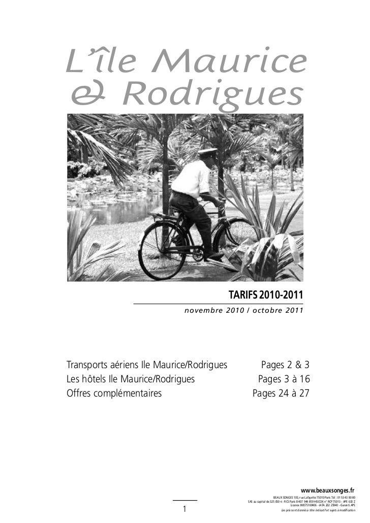 L'île Maurice& Rodrigues                                           TARIFS 2010-2011                             novembre 2...