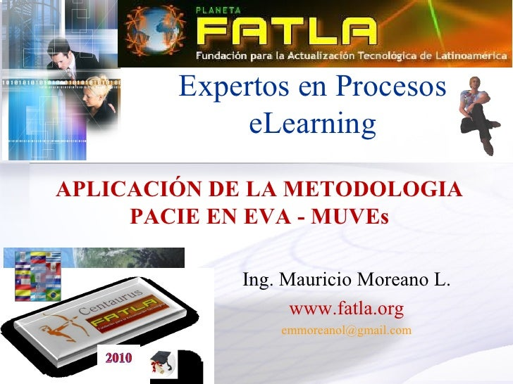 Expertos en Procesos              eLearning  APLICACIÓN DE LA METODOLOGIA      PACIE EN EVA - MUVEs              Ing. Maur...