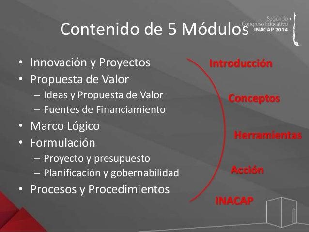Contenido de 5 Módulos  • Innovación y Proyectos  • Propuesta de Valor  – Ideas y Propuesta de Valor  – Fuentes de Financi...