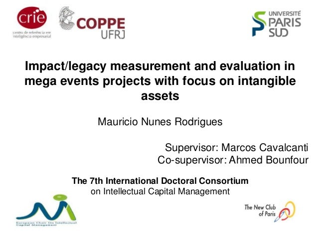 Impact/legacy measurement and evaluation in mega events projects with focus on intangible assets Mauricio Nunes Rodrigues ...