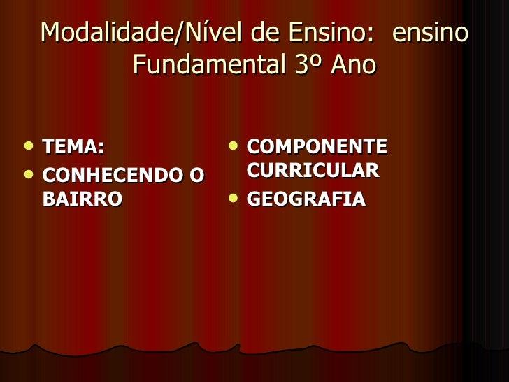 Modalidade/Nível de Ensino:  ensino Fundamental 3º Ano <ul><li>TEMA:  </li></ul><ul><li>CONHECENDO O BAIRRO </li></ul><ul>...