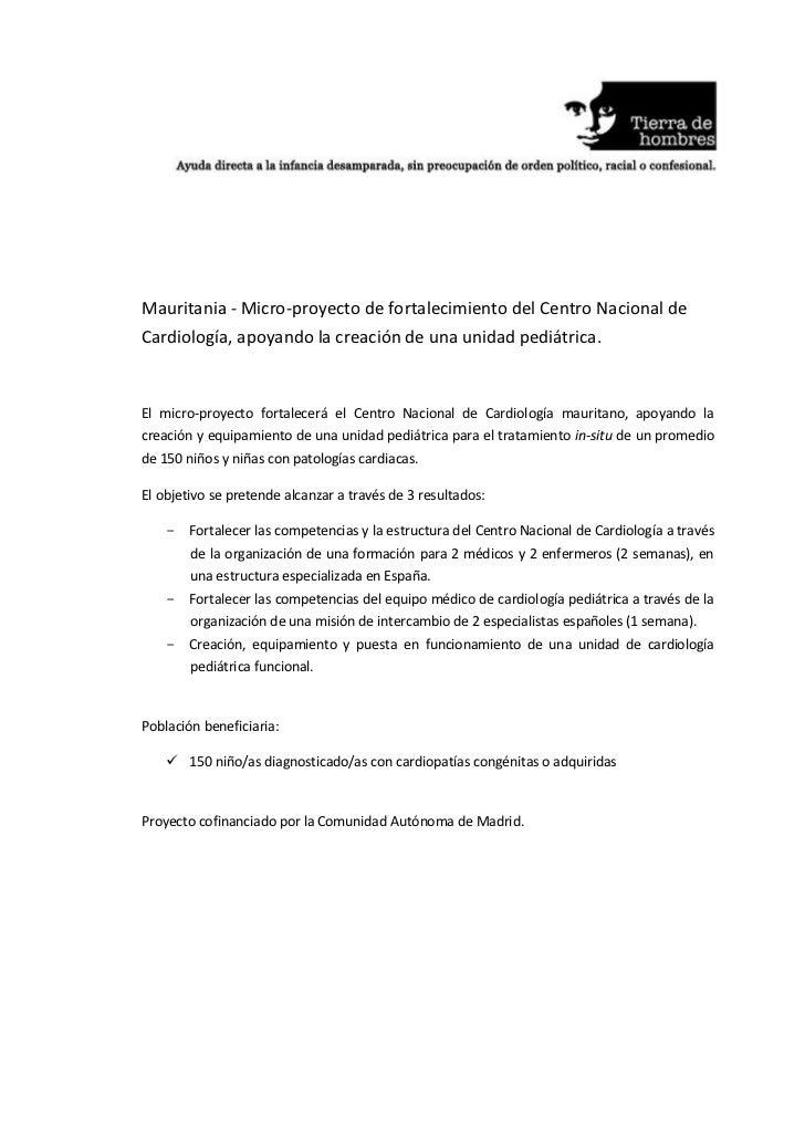 Mauritania - Micro-proyecto de fortalecimiento del Centro Nacional deCardiología, apoyando la creación de una unidad pediá...
