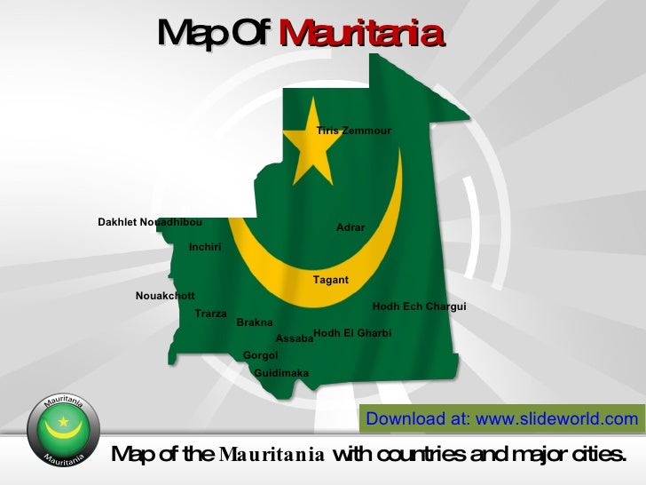 Mauritania Map Powerpoint Template - Mauritania map download