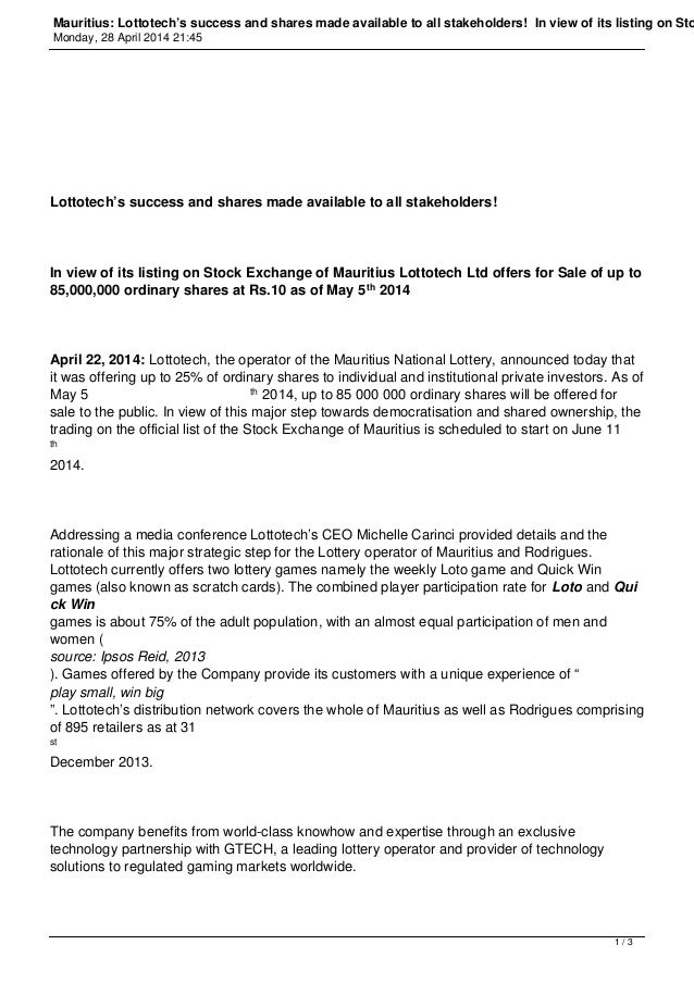 Mauritius: Lottotech's success and shares made available to all stakeholders! In view of its listing on Sto Monday, 28 Apr...