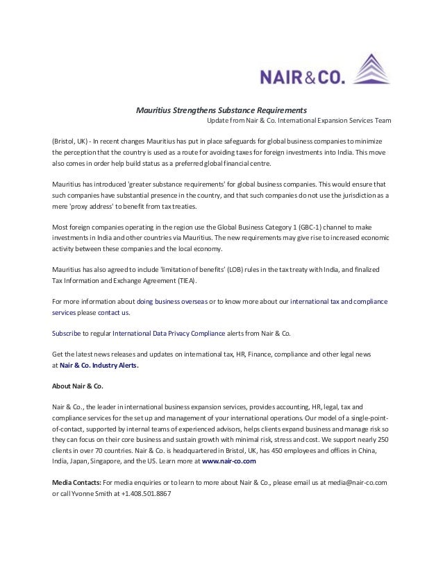 Mauritius Strengthens Substance Requirements Update from Nair & Co. International Expansion Services Team (Bristol, UK) - ...