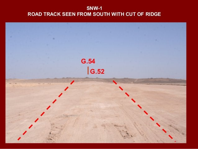SNW-1 GRAVES ALIGNEMENT ON CREST OF TERRACE VIEW FROM EAST G.54 G.53 ROAD CUT CENTRAL AXIS