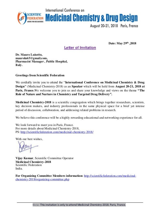 Mauro luisetto invitation letter international conference on medicin…