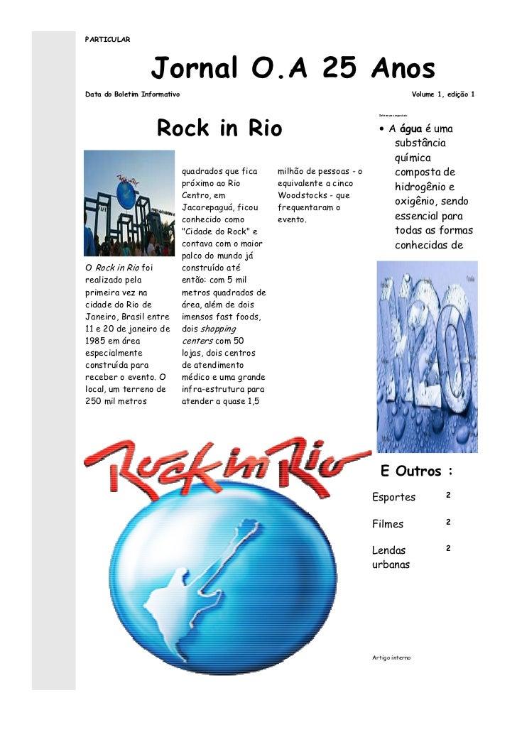 PARTICULAR                  Jornal O.A 25 AnosData do Boletim Informativo                                                 ...