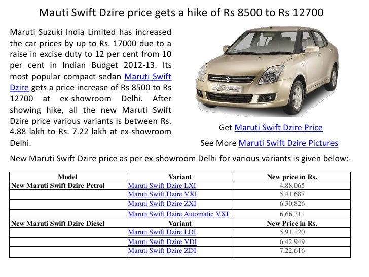 Suzuki Swift Dzire Price