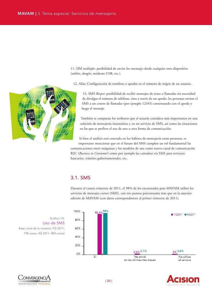 MAVAM | 3. Tema especial: Servicios de mensajería                                                 El uso de SMS no sólo es...