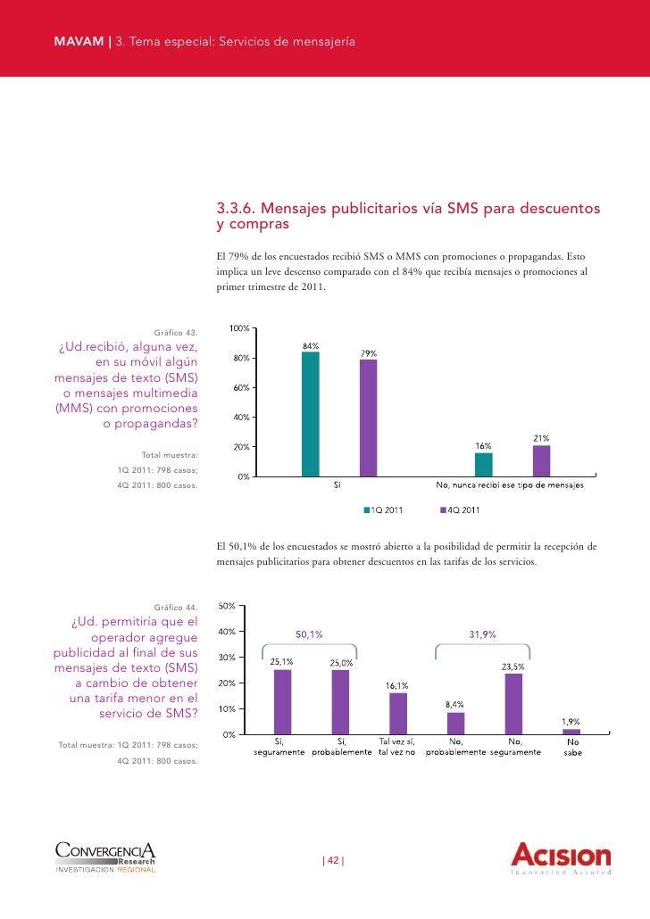 MAVAM | 3. Tema especial: Servicios de mensajería                                   El 29,6% de los usuarios respondió que...